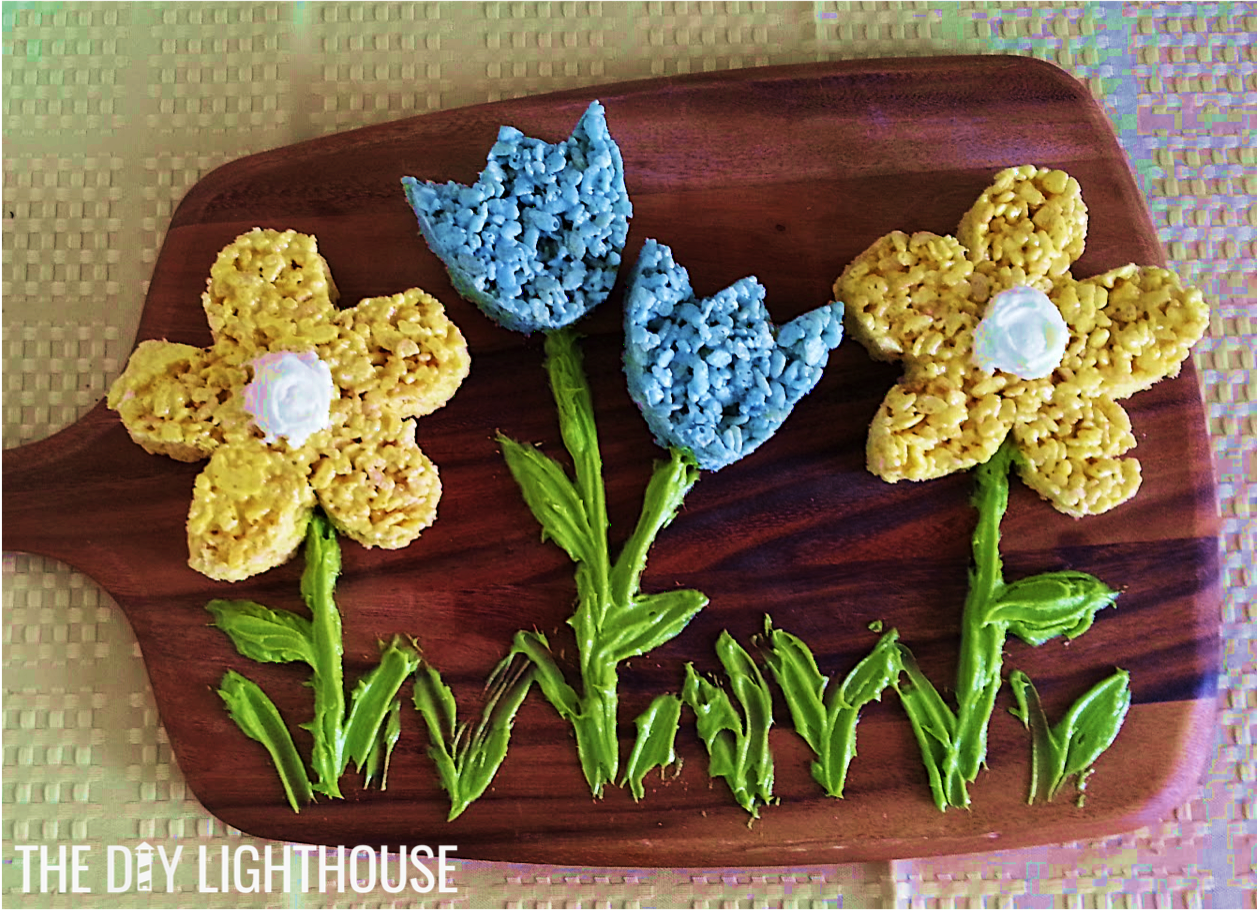 Diy Rice Krispie Treat Flowers The Diy Lighthouse
