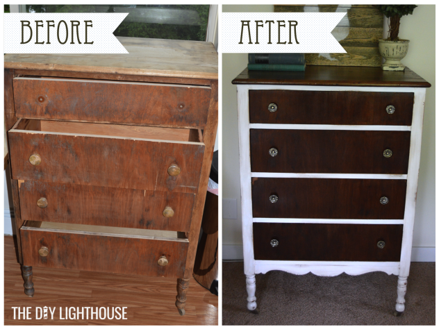 before and after white distressed dresser logo 2
