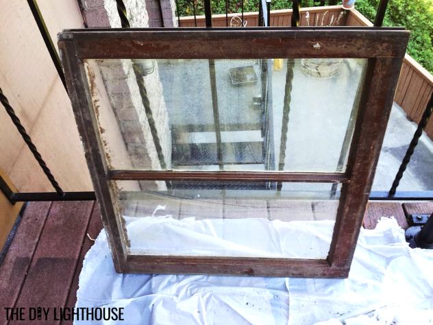 antique window picture frame progress