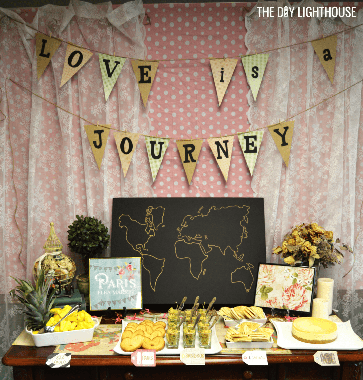 how to throw a travel themed bridal shower on a budget. Black Bedroom Furniture Sets. Home Design Ideas
