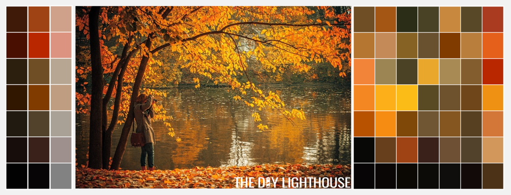 Fall Color Palette Combinations - Fall Leaves & a Lake
