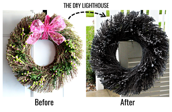 Halloween Spider Web Wreath before & after