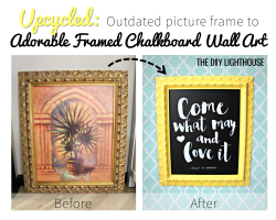 Upcycled picture frame to framed chalkboard wall art