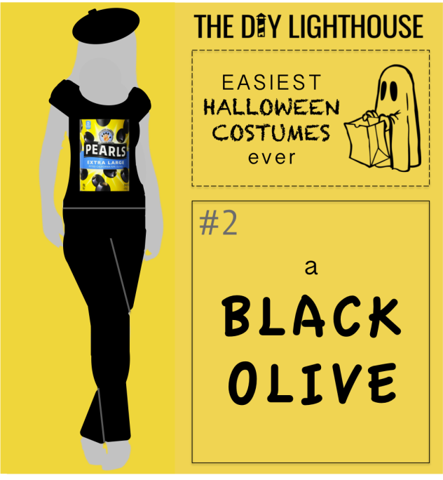 easy halloween costume idea--a black olive