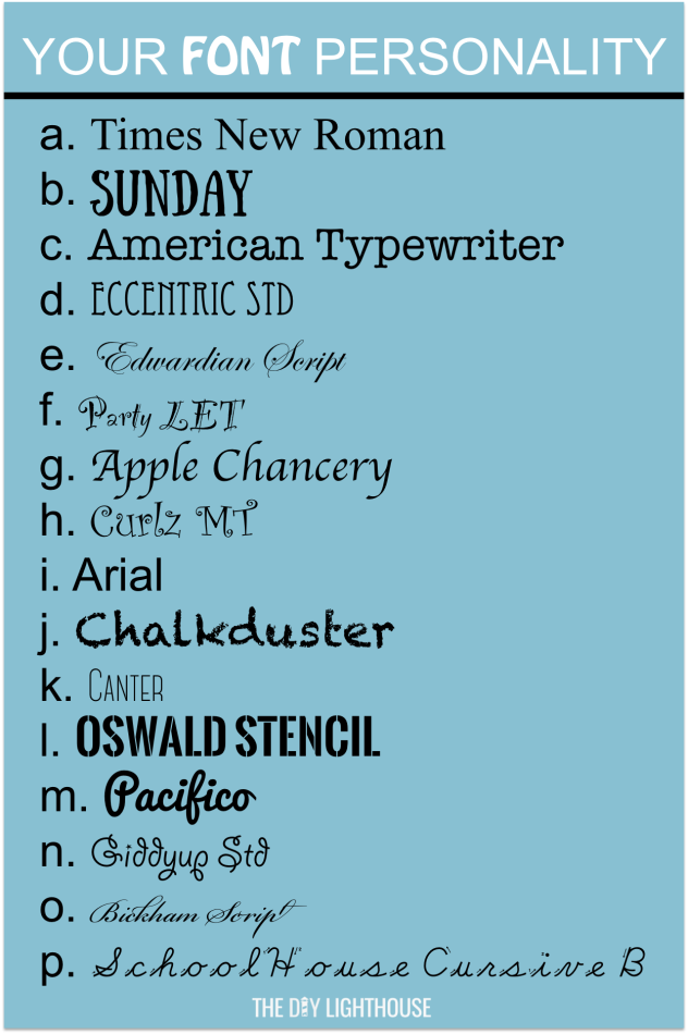your font personality test results