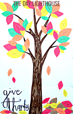 tree of gratitude & thanksgiving trunk and leaves