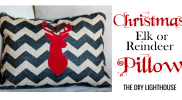 Placemat Repurposed into Christmas Elk Pillow