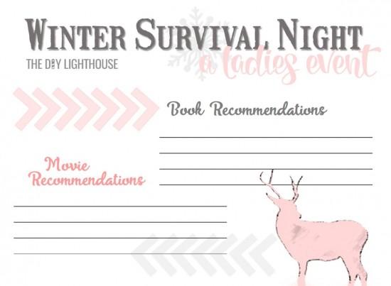 Winter Survival Night free printable