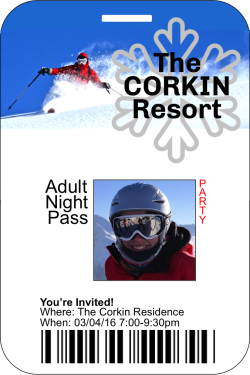 Ski Pass Party Invitation