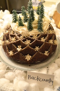 Ski themed party food: Backcountry (chocolate bundt cake with white frosting)