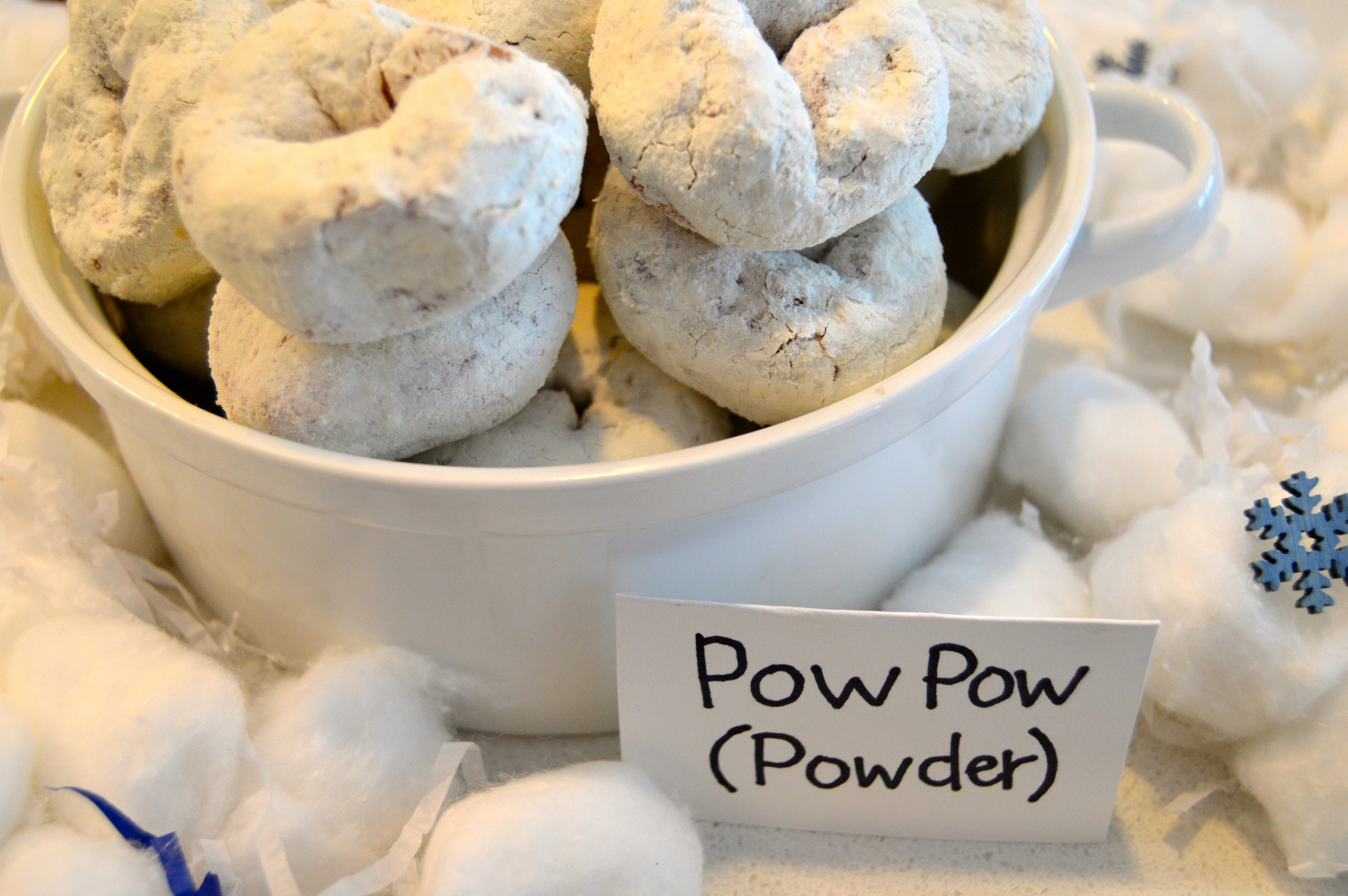 Ski themed party food: Pow Pow (powdered donuts)