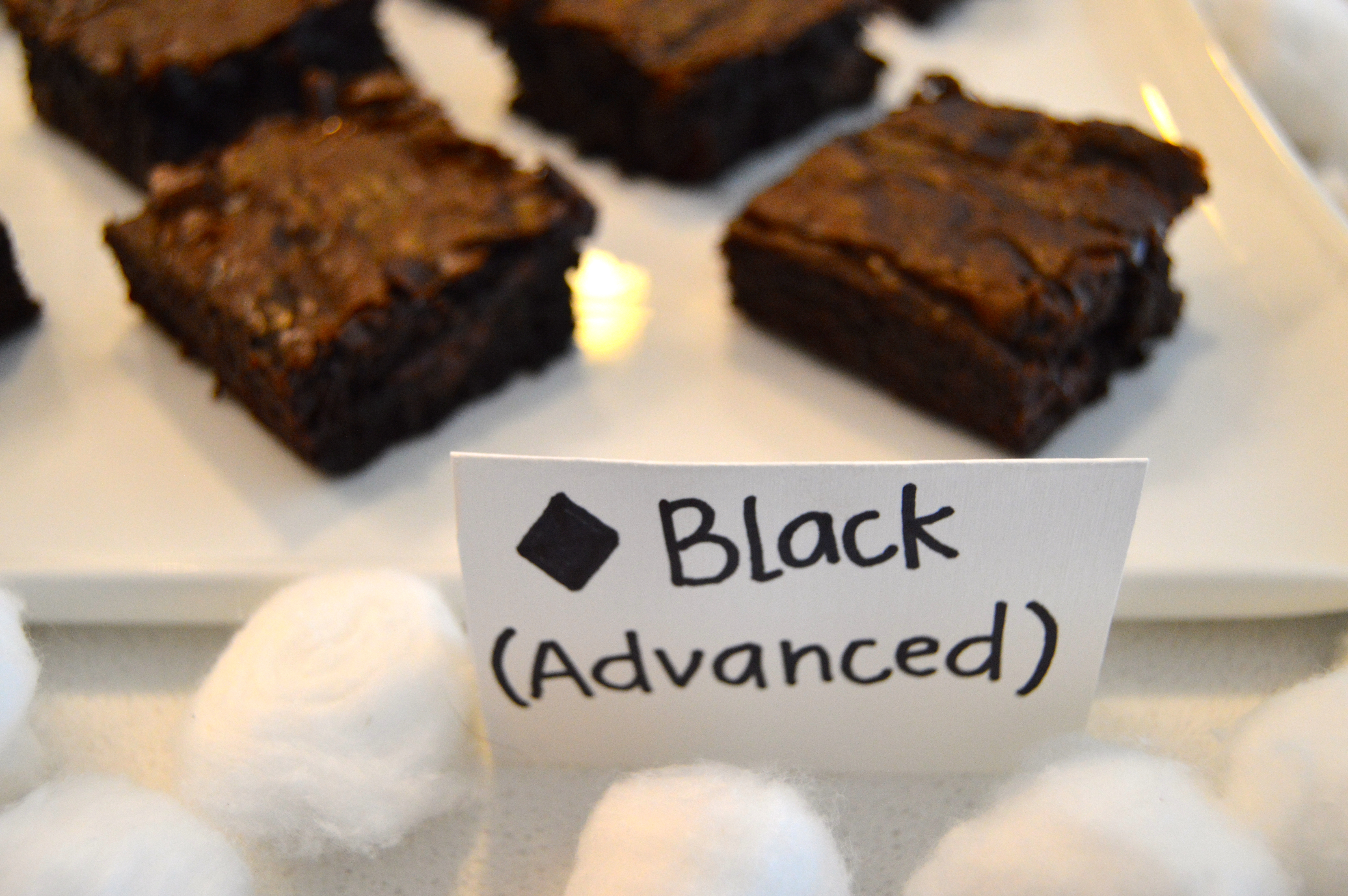 Ski themed party food: Advanced Slopes/Black Diamond (dark chocolate brownie diamonds)