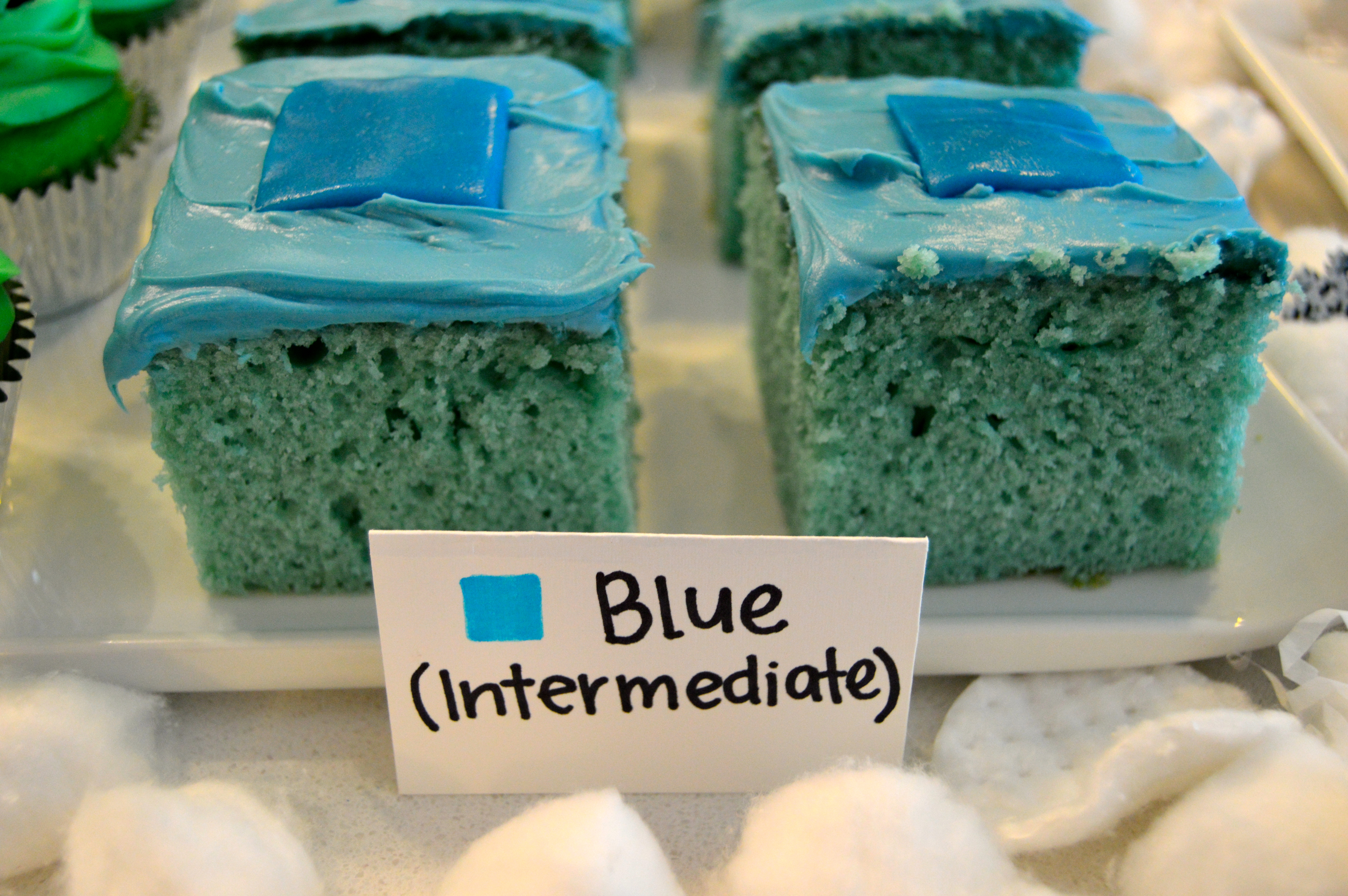 Ski themed party food: Intermediate Slopes/Blue Square (blue cake squares with blue airhead)