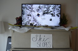 Ski Party Decoration Ideas: ski movie playing on the tv