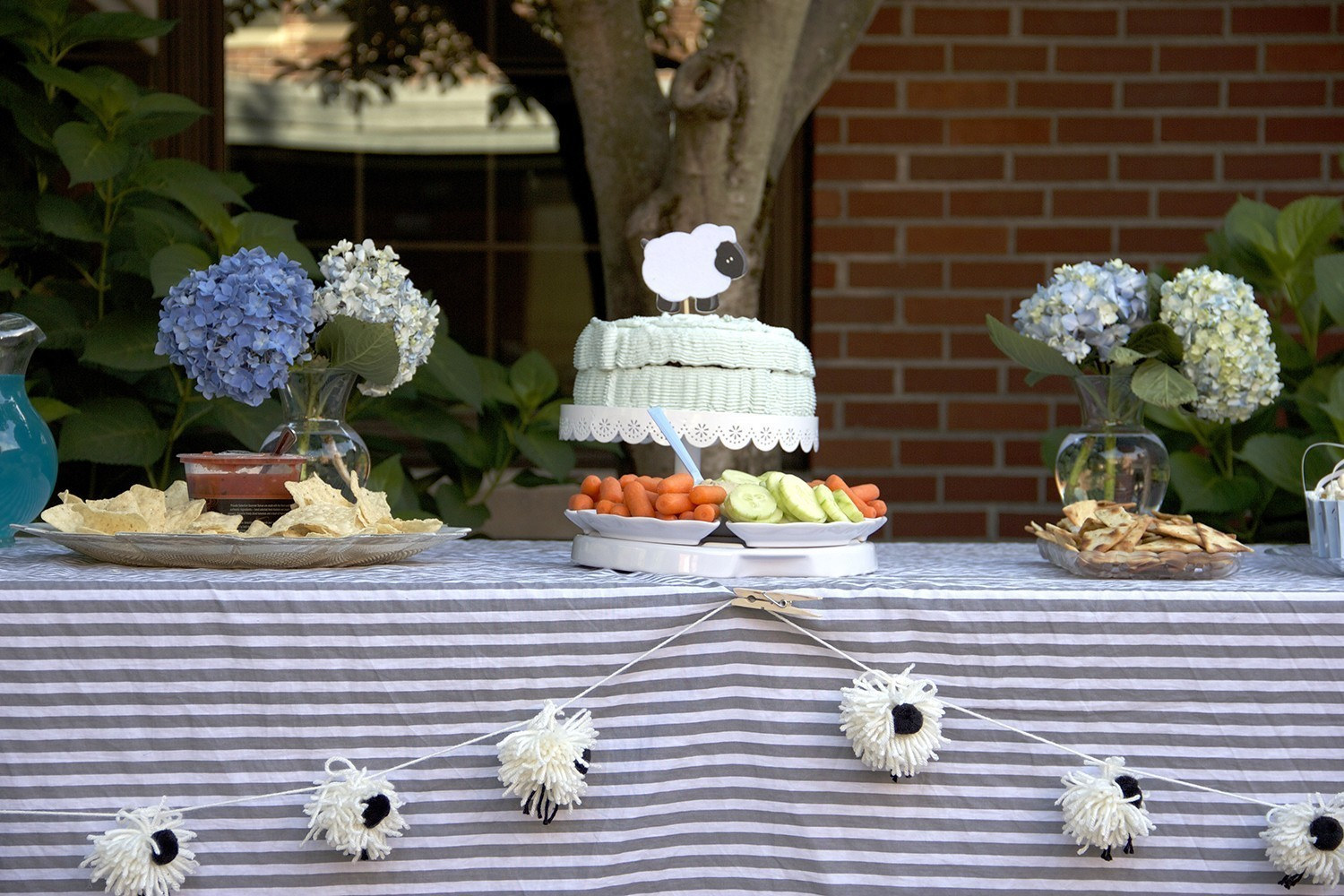 Lamb themed baby shower food table inspiration
