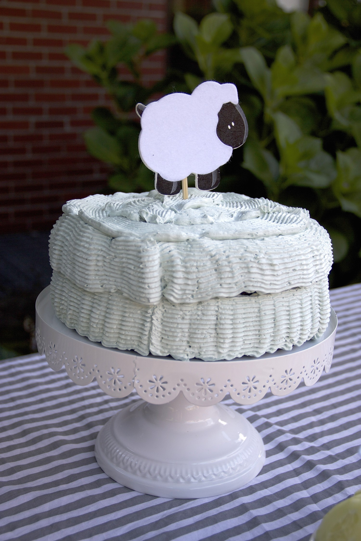 lamb cake topper decoration for a lamb themed baby shower
