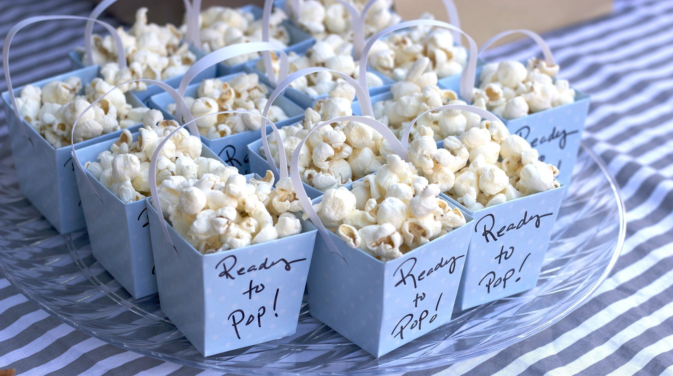 ready to pop popcorn buckets for a lamb themed baby shower