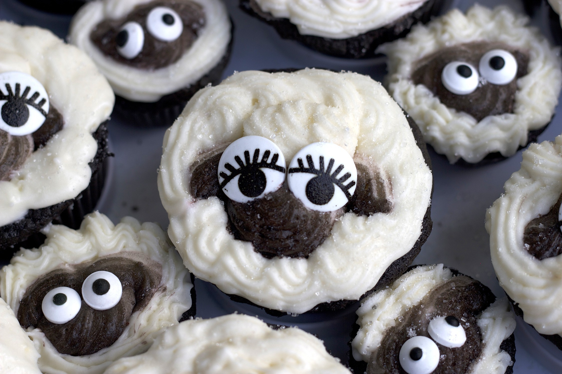 sheep and lamb cupcakes for a lamb themed baby shower