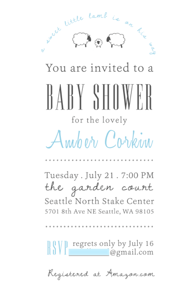 lamb themed baby shower invitation: a sweet little lamb is on his way