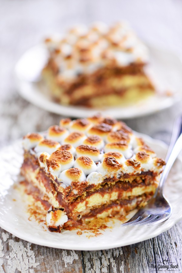 Smores_Ice_Box_Cake | A list of the best 25 s'more recipes for summer. Smores dip, cookies, pie, brownies, and other ideas for tasty different ways to make that campfire dessert.