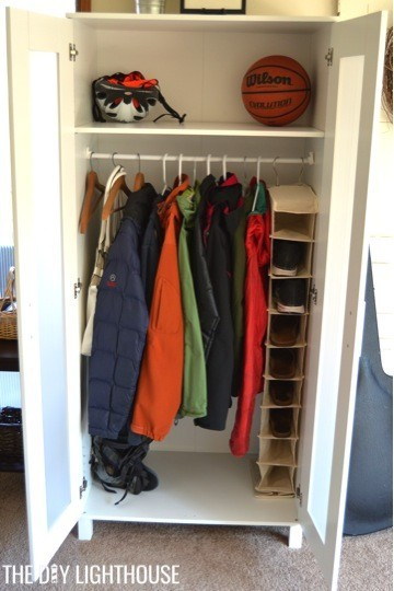 DIY coat closet open (IKEA wardrobe)