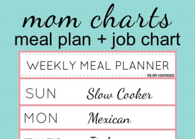 Mom chart! Job chart cleaning schedule and meal plan chart. Great for organizing and planning jobs, dinner, activities, etc. A must for stay-at-home moms with their kids!