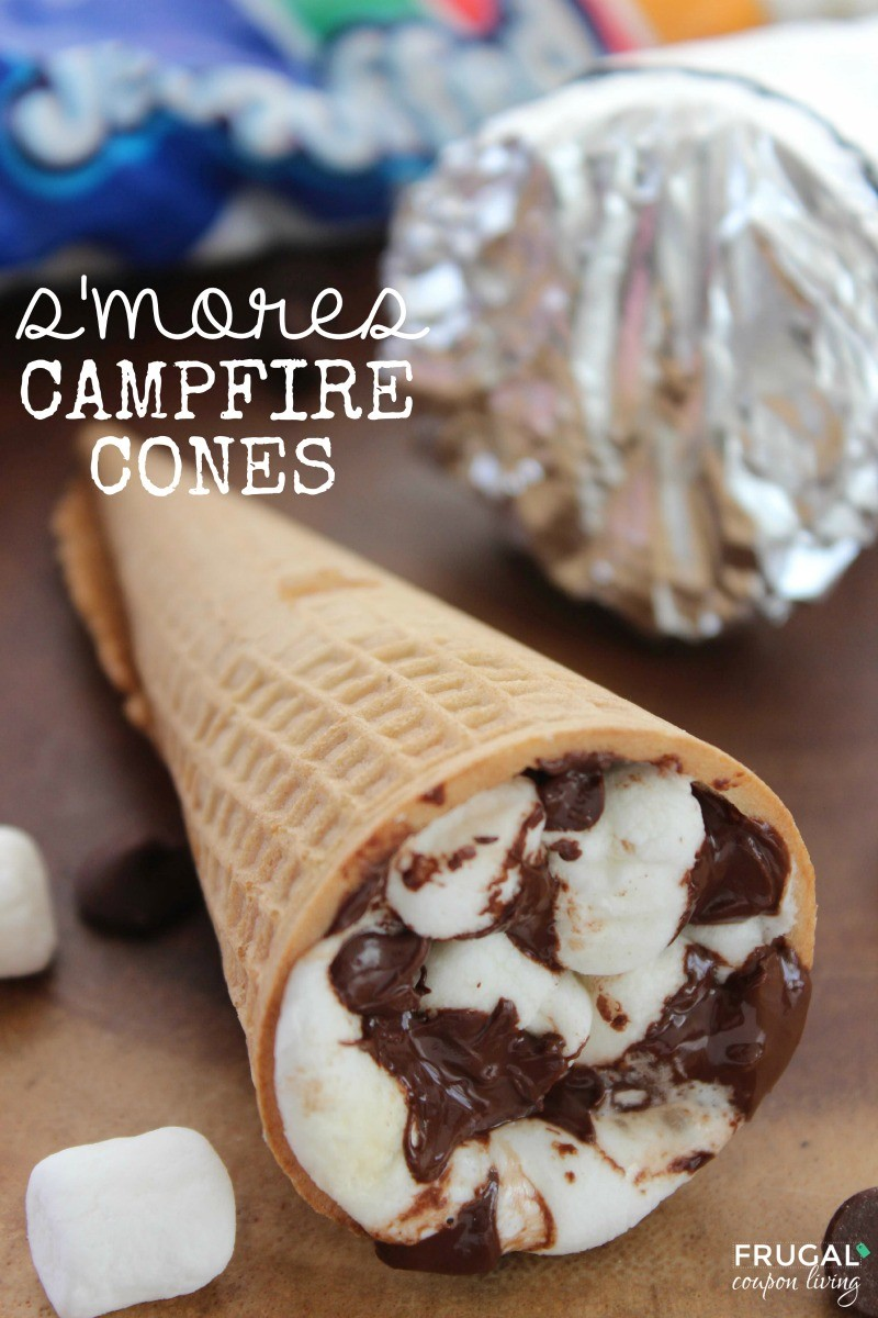 s-mores-campfire-cones-frugal-coupon-living-smaller | A list of the best 25 s'more recipes for summer. Smores dip, cookies, pie, brownies, and other ideas for tasty different ways to make that campfire dessert.