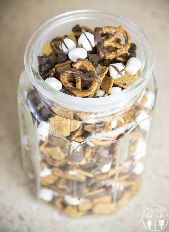 smores-snack-mix-2 | A list of the best 25 s'more recipes for summer. Smores dip, cookies, pie, brownies, and other ideas for tasty different ways to make that campfire dessert.