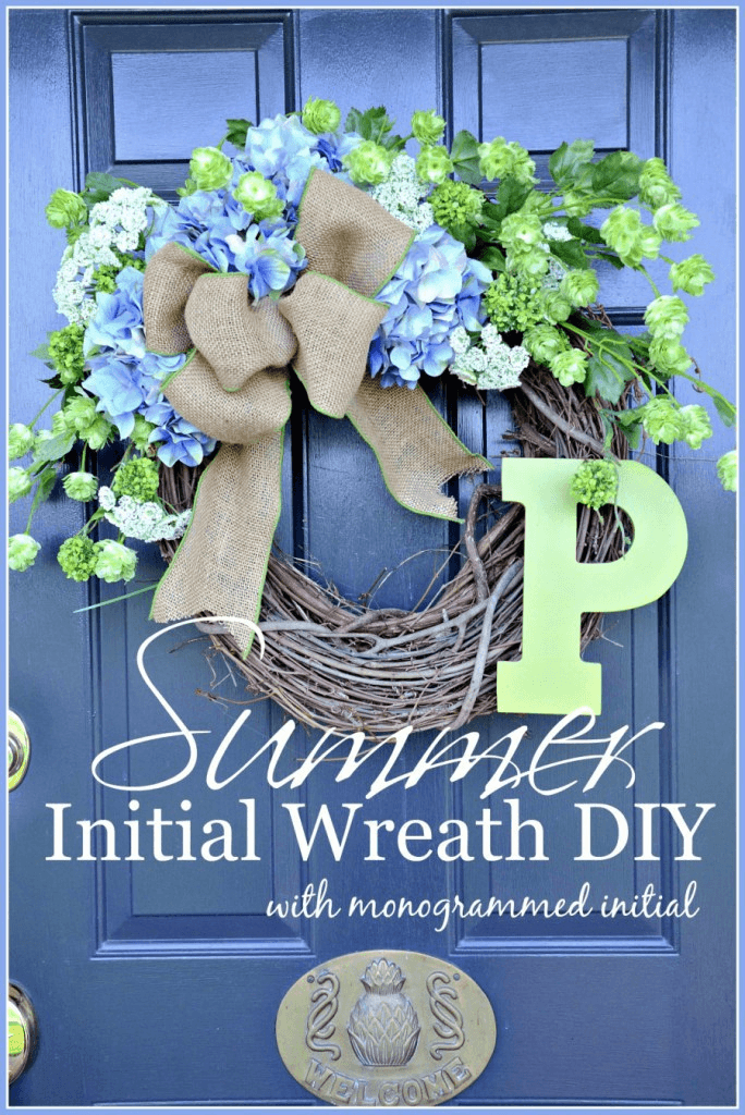 DIY Blue Hydrangea Wreath