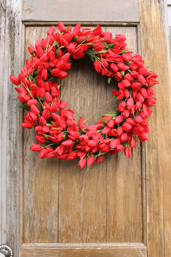 DIY Ruby Red Tulip Wreath
