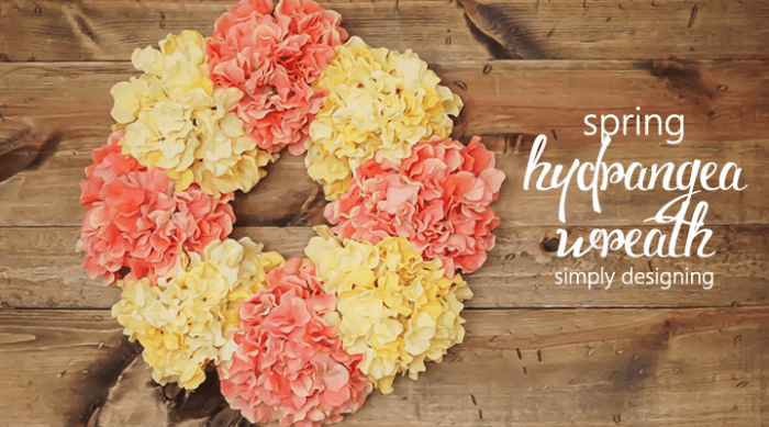 DIY Yellow & Coral Hydrangea Wreath
