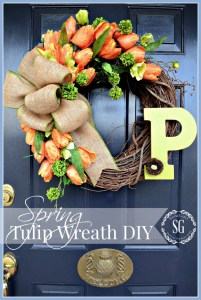 DIY Peach Tulip Wreath