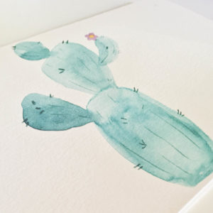 pretty prickly cactus watercolor greeting card