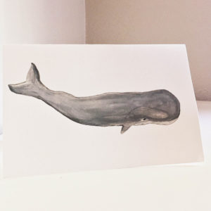 mr. whale watercolor greeting card