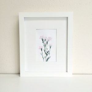 Pink Dianthus Watercolor Painting
