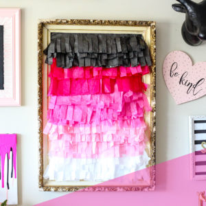 DIY ombre tissue paper fringe wall decor