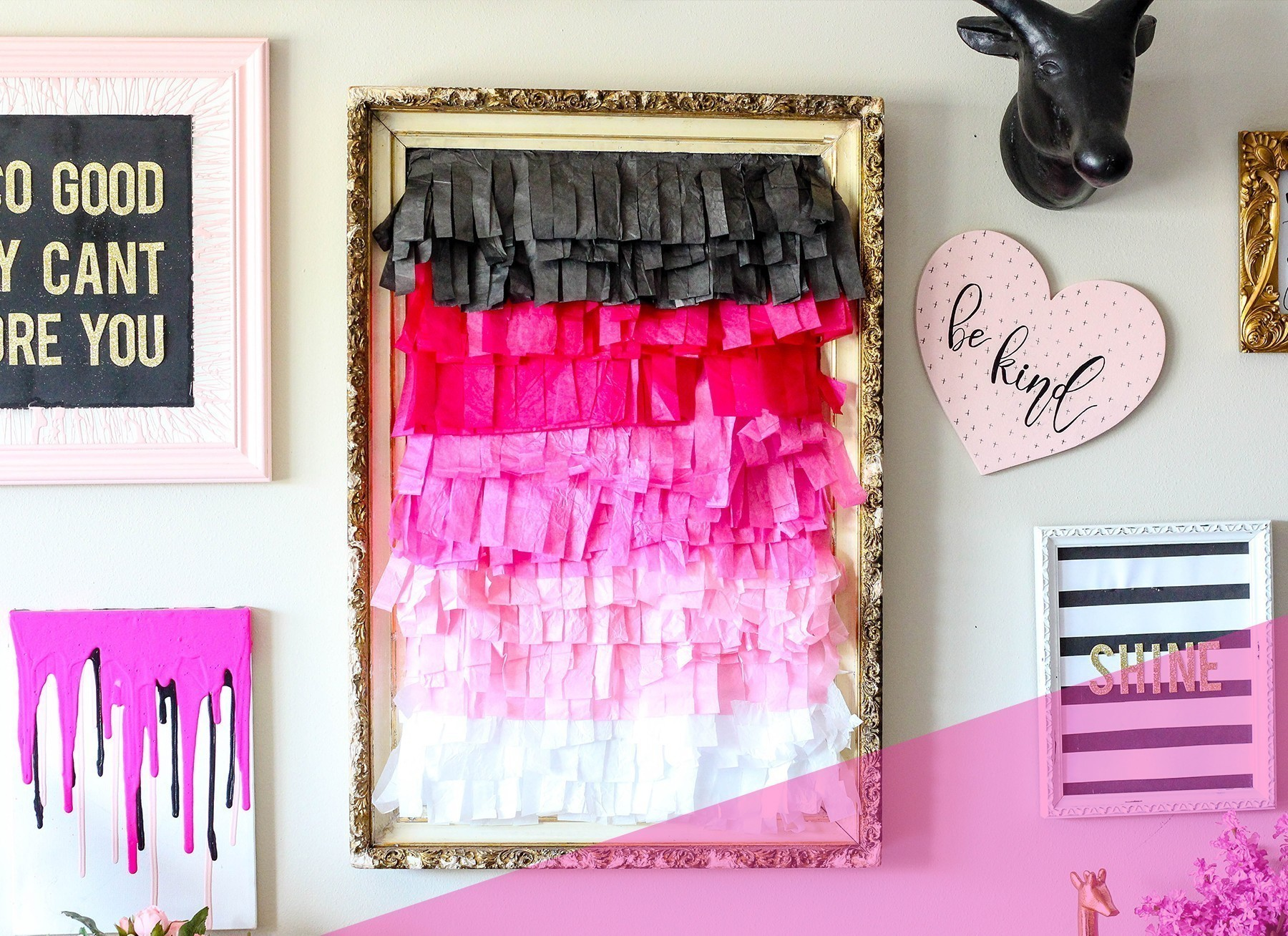 Diy Ombre Tissue Paper Fringe Wall Decor The Diy Lighthouse