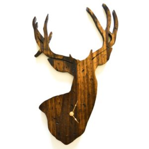 distressed wooden deer clock