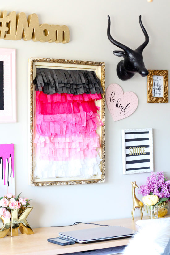 Diy Wall Art Tissue Paper : Diy ombre tissue paper fringe wall decor the lighthouse