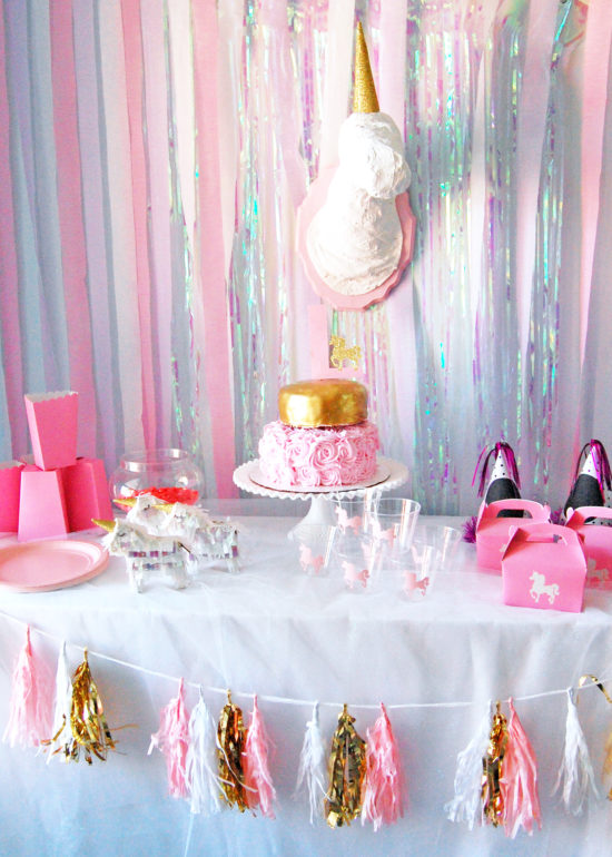 pink and gold unicorn birthday party