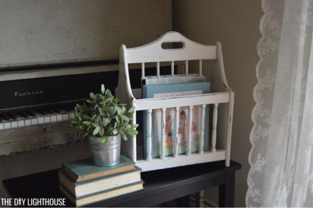 DIY music holder painted-and-distressed-magazine-rack-for-a-farmhouse-style-music-holder