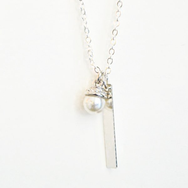 Pearl necklace personalized stamped