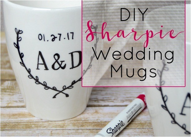 How to make DIY Sharpie mugs with the bride + groom 's initials / wedding date. DIY Sharpie wedding mugs is a cute + personalized wedding present craft idea.