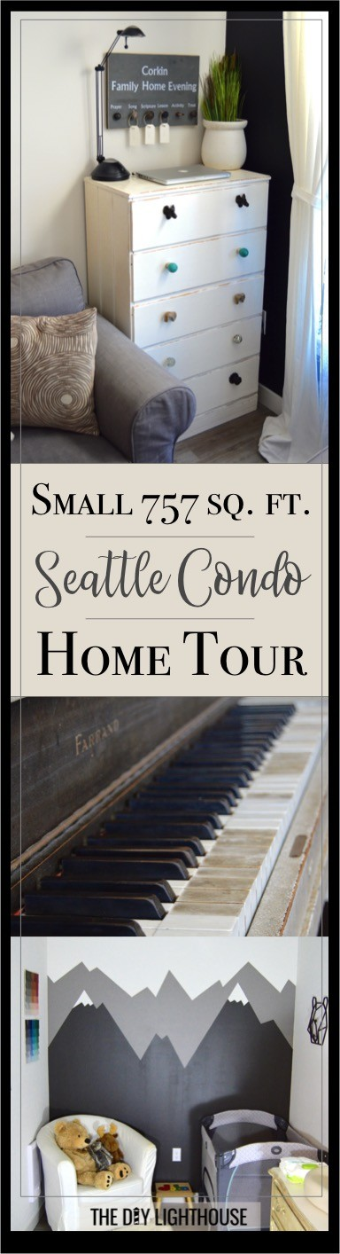 Small Seattle condo home tour. A virtual home tour of our little 757 square foot condo in the city. Family friendly farmhouse style on a modern backdrop. A 2017 condo home tour of our kitchen, living room, entryway and hallway, bedroom, nursery and den, and bathroom.