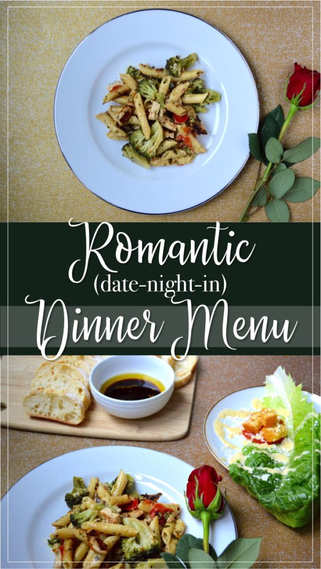 Romantic dinner menu for a date night in in that you can make in 15 minutes! Quick and easy fancy meal at home. Chicken Alfredo penne pasta main course, deconstructed Caesar salad, and sliced ciabatta baguette with balsamic vinegar dip side dish. Ingredients, recipe, and directions for how to make this fancy romantic dinner date at home.
