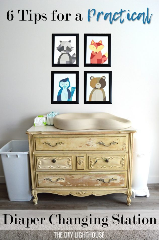 Tips for how to make a practical diaper changing station. Changing table ideas like: repurpose a dresser, get a Diaper Genie, buy diapers and wipes in bulk, baby changing pad + more ideas for your baby's nursery. DIY dresser changing table hack. Tips and tricks for when baby comes like where to go shopping for a diaper pail.