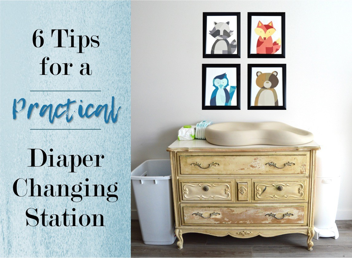 6 tips for how to make a practical diaper changing station. Changing table ideas like: repurpose a dresser, get a Diaper Genie, buy diapers and wipes in bulk, baby changing pad + more ideas for your baby's nursery. DIY dresser changing table hack. Tips and tricks for when baby comes like where to go shopping for a diaper pail.