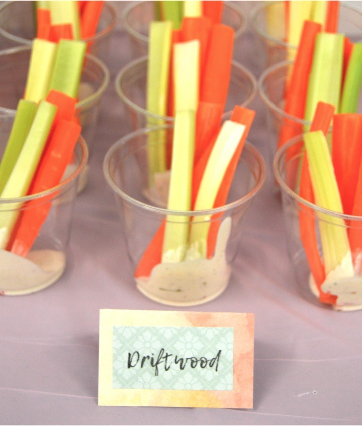 Carrots and celery sticks as Driftwood. Themed nautical food. Sailing baby shower inspiration with a nautical theme. Food, party decorations, invitation, games, + gift ideas for an adventure sailing girl's baby shower.