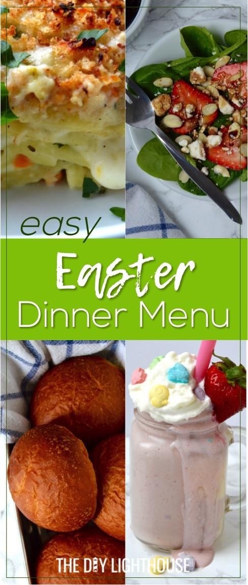 Easy Easter dinner menu for the family. Fresh, springtime dinner with vegetable lasagna main course, strawberry spinach salad, rolls, + milkshake dessert. #ad #SpringItOn #NestleKitchen #CollectiveBias