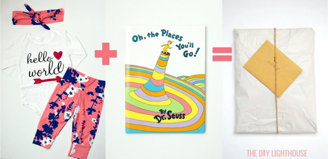 Gifts Hello World outfit and Oh the Places You'll Go Dr. Seuss book. Sailing baby shower inspiration with a nautical theme. Food, party decorations, invitation, games, + gift ideas for an adventure sailing girl's baby shower.
